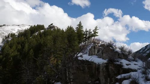Flying along ridgeline over trees and snow