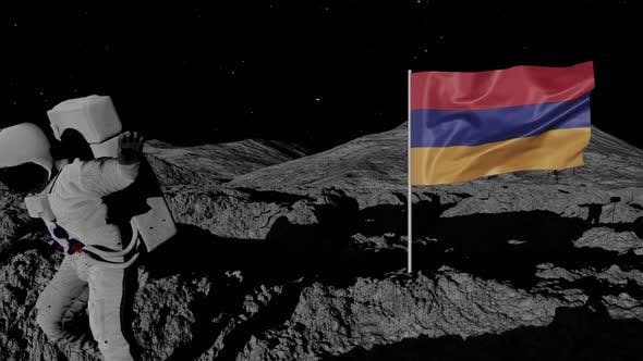 Thumbnail for Armenia Flag on Moons Surface With Floating Astronaut