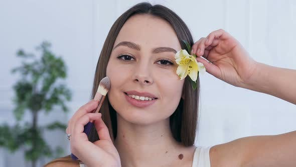Thumbnail for Beautiful Caucasian Woman with Flower in the Hair