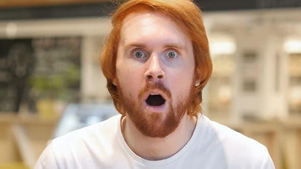Shocked Man Portrait at Work, Amazed by Surprise