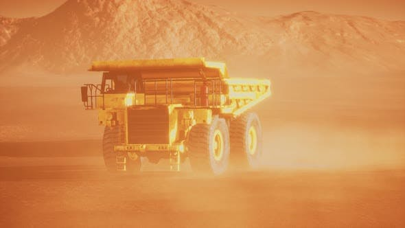 Thumbnail for Big Yellow Mining Truck in the Dust at Career