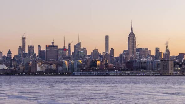 Thumbnail for Manhattan Cityscape and Hudson River in the Morning. New York City