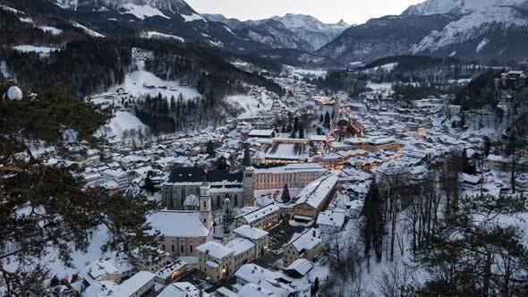 Thumbnail for Night Aerial Timelapse of Berchtesgaden at Winter, Bavaria