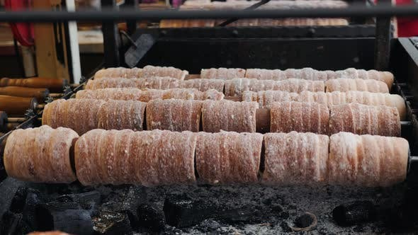 Thumbnail for Trdelnik Is Street Food of Prague, It Considered a Traditional National Czech Christmas Sweet Food