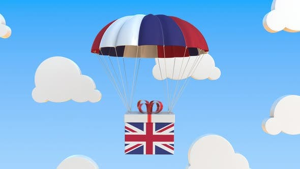 Box with National Flag of Great Britain Falls with a Parachute