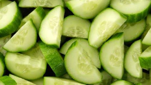 Cucumber. sliced cucumber top view