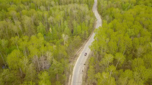 Thumbnail for Car On Country Road From Above