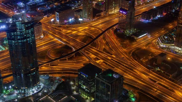 Dubai Scenic Aerial View of Big Highway Intersection Night Time-lapse