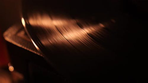 Vinyl Record Playing At Candle Light