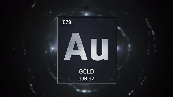 Thumbnail for Gold As Element 79 Of The Periodic Table On Black and Silver Background