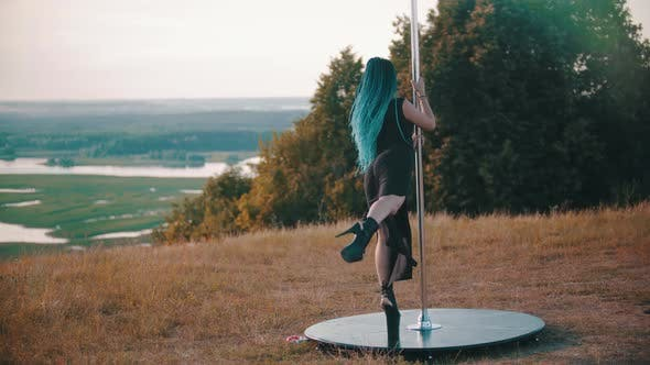 Thumbnail for Woman with Blue Braids on High Heels Dancing By the Pole Outdoors