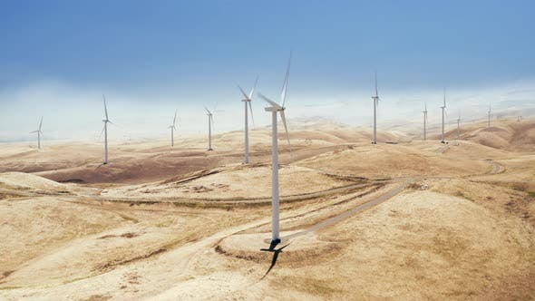 Thumbnail for Aerial Shooting of Working Windturbines Producing Energy in California