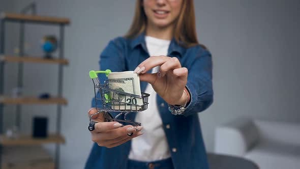 Thumbnail for Young Woman Hands Holding Shopping Cart with Money