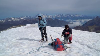 Alpinists in the Alps