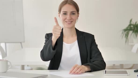 Thumbnail for Thumbs Up by Young Businesswoman in Office
