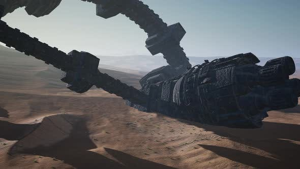 Thumbnail for Old Rusted Alien Spaceship in Desert