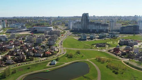 View From the Height of the Drozdy District and the Minsk Sports Complex Minsk Arena in Minsk