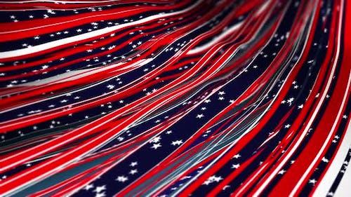Abstract Festive 4th July USA Flag Ribbon Loop