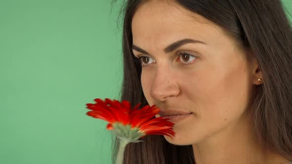 Thumbnail for Attractive Cheerful Woman Smelling a Flower and Smiling