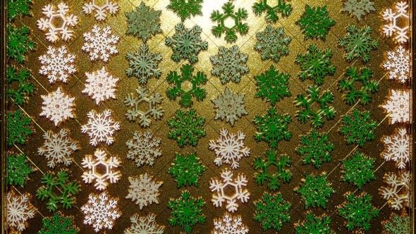 Thumbnail for Rotating Golden Snowflakes Green 20