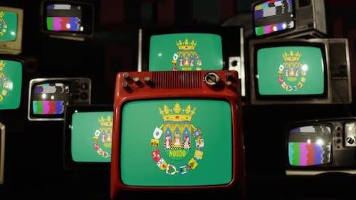 Flagge der Provinz Sevilla und alte Retro-Fernseher.