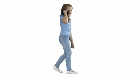 Thumbnail for Little girl talk phone and walking on white background.