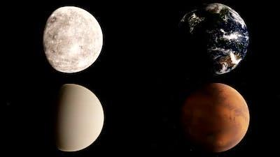 Mercury, Venus, Earth and Mars timelapse