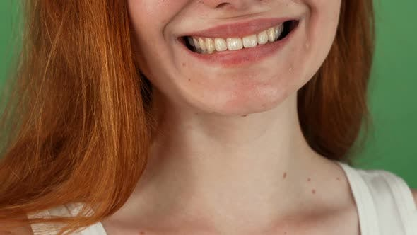 Thumbnail for Red Haired Woman Smiling Happily on Green Chromakey Background