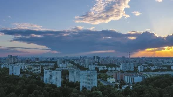 Thumbnail for Moscow City at Sunset. Cloudy Sky. Russia