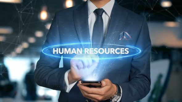Thumbnail for Businessman Smartphone Hologram Word   Human Resources