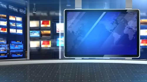 Virtual News Studio Set Blue Background 2