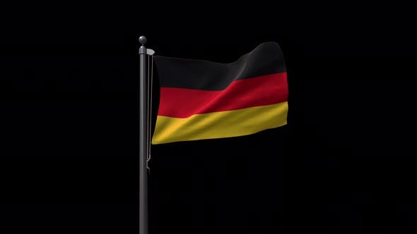 Germany Flag On Flagpole With Alpha Channel 4K