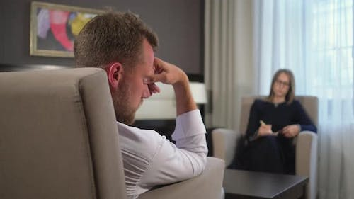 Man Is in a Psychological Trance in Appointment of Psychotherapist