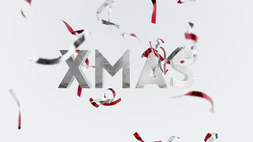 Merry Christmas Confetti Seasons Greetings Animation Falling Ribbons Background