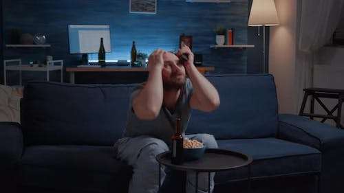 Angry Disappointed Sports Fan Watching Favourite Team Loosing