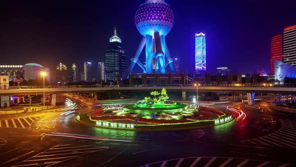 Thumbnail for Lujiazui Bridge in Shanghai Pudong Area in China Timelapse