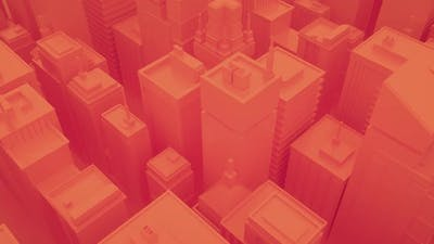 Abstract city with skyscrapers. Camera moves through abstract isometric city.