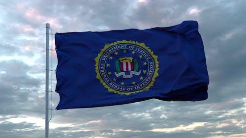United States FBI Flag Waving in Wind