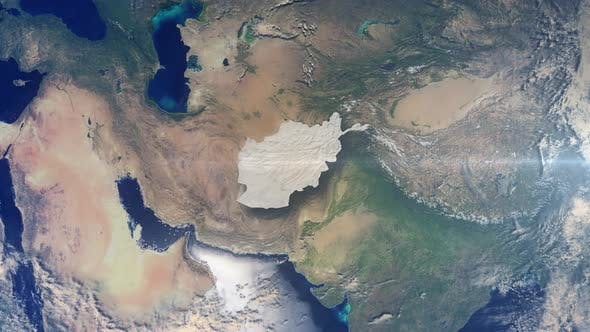 Realistic Earth Zoom Highlight Country Afghanistan