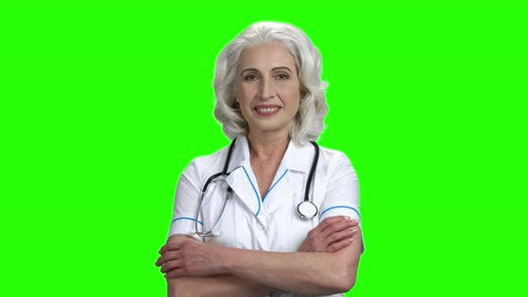 Pretty Medical Doctor Woman on Green Screen