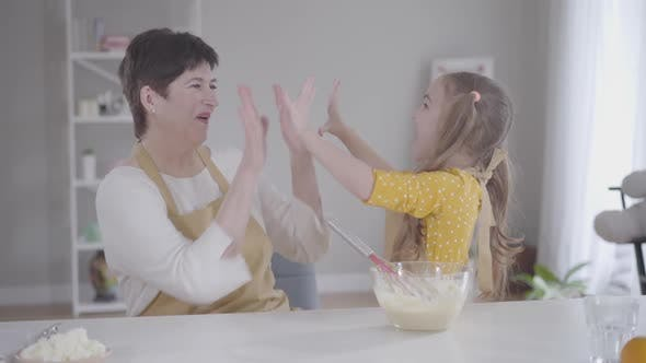 Thumbnail for Cute Positive Girl Giving High Five To Grandmother at Kitchen, Happy Woman Hugging Granddaughter