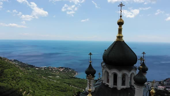 Top View Church of the Resurrection in Foros