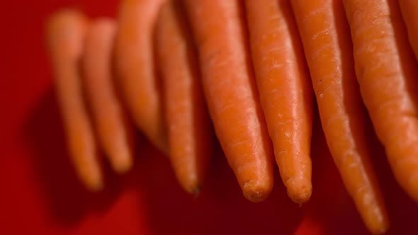 Tasty Carrots Resting on Red Background