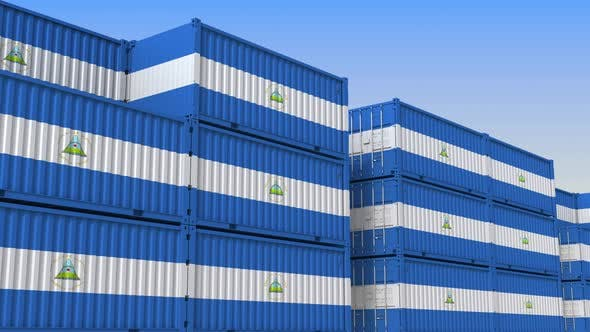 Thumbnail for Container Terminal Full of Containers with Flag of Nicaragua