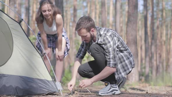Thumbnail for Young Man Putting Up a Tent in a Pine Forest While His Girlfriend Standing Near. Nature Lovers