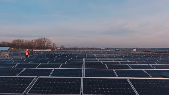 Thumbnail for Photovoltaic solar panels on a flat roof at sunset