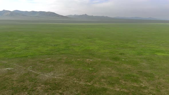 Vast Empty Pasture of Central Asian Lowland