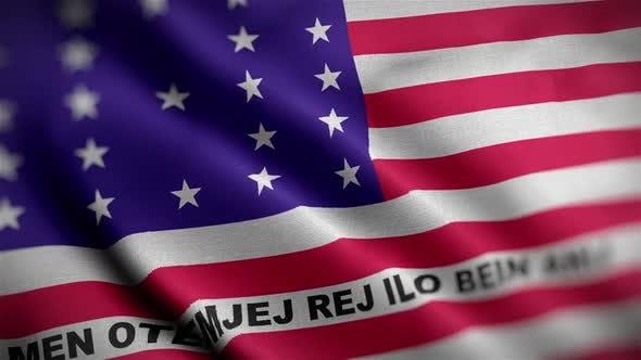 Bikini Atoll Flag Textured Waving Close Up Background HD