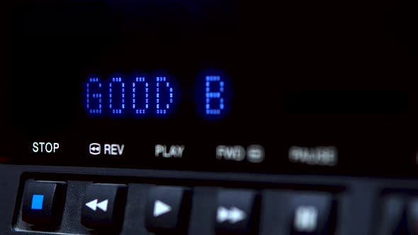 """Thumbnail for Disc Player with Screen. The Word """"Good Bye"""" Is Written on the Screen"""
