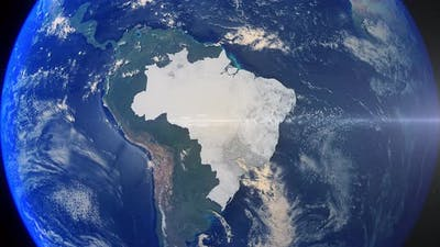 Realistic Earth Zoom Highlight Country Brazil